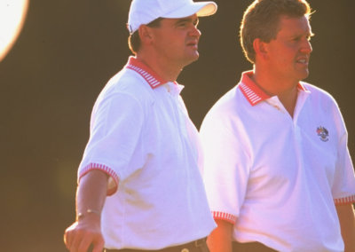 Colin Montgomerie and Paul Lawrie of Europe